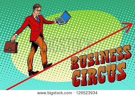 Businessman acrobat business circus pop art retro style. The man is an acrobat on the rope. Chart of sales and growth. Circus and business
