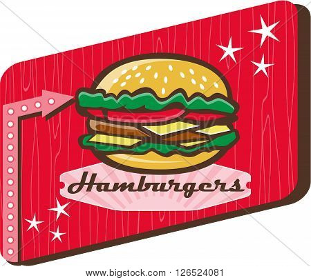 Illustration of a retro 1950s diner style hamburger burger or cheeseburger with meat patty lettuce tomato and cheese slices in bun set inside rectangular sign with woodgrain.