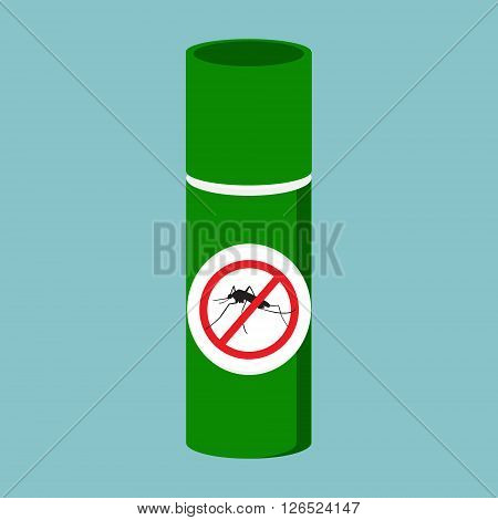 Vector illustration mosquito spray bottle icon. Mosquito insect stop sign
