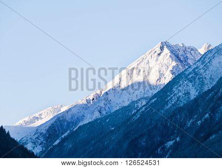 View on peak of Stubai Alpen in Tyrol