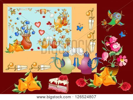 Tea party. Beautiful card with teapots vases with flowers cakes tasty pears and berries cups hearts and birds. Cute vector illustration for teatime.