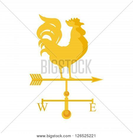 Vector illustration rooster weather vane. Golden rooster cock. Weather vane symbol icon