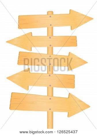 Wooden direction road signs, vector illustration isolated on white
