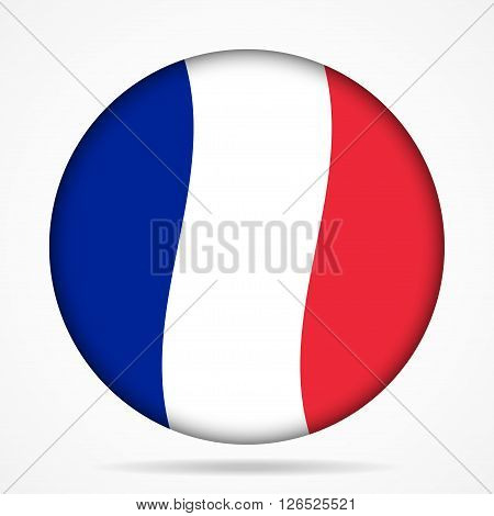 button with waving national flag of France and shadow