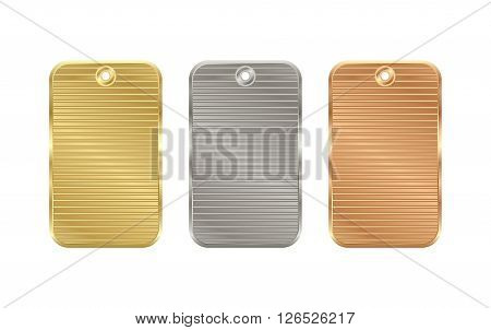 Vector corrugated rectangular price tag of gold silver bronze