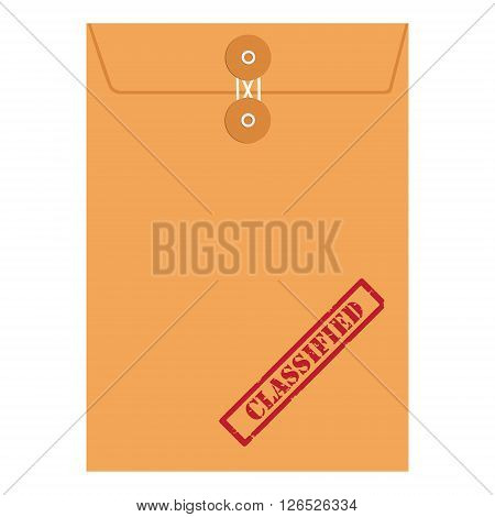 Vector illustration orange paper envelope sealed with string with red grunge rubber stamp with text classified