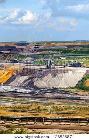 lignite (brown coal) strip mining Garzweiler Germany a large surface mine for power generation with significant impact on the environment vertical