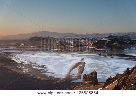 Icelandic landscape in winter taken from the top of Dyrholaey