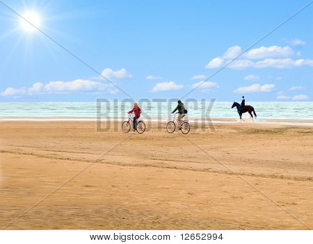 horseman and cyclists