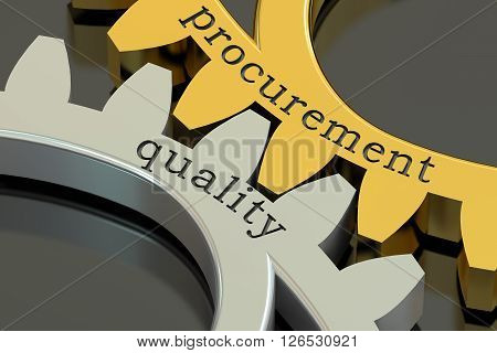Procurement Quality concept on the gearwheels 3D rendering