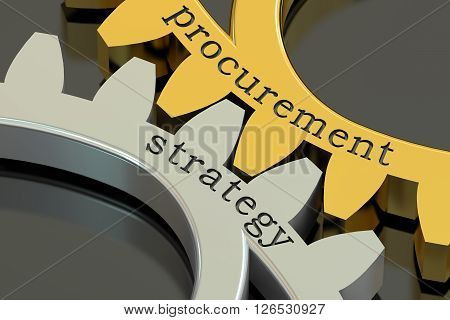 Procurement Strategy concept on the gearwheels 3D rendering
