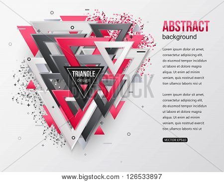 Abstract background with multicolor 3d triangles. Computer, technology business background. Vector illustrator.