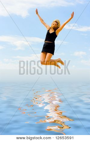 "flying like a feather -  of  ""Girls on a Beach"" series in my portfolio"