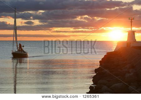 Sailing Boat  With Sunset