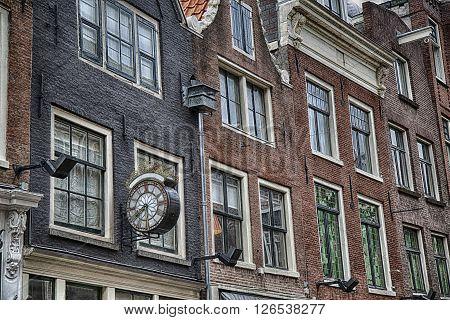 Details of Clock in street Nieuwe Spiegelstraat in Amsterdam the Netherlands