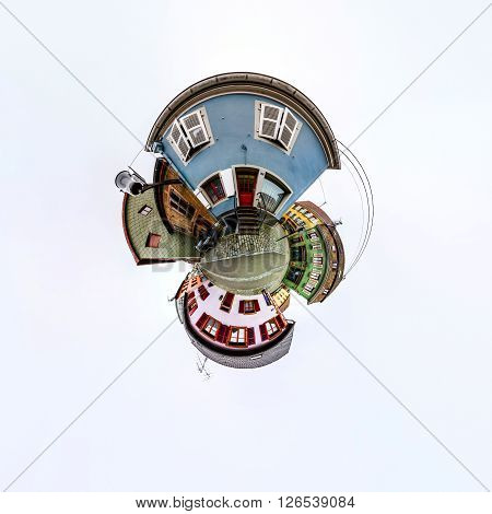 Funny Street View Of Little French Village. Curvature Of Space, Little Planet Effect, Panoramic View