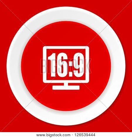 16 9 display red flat design modern web icon