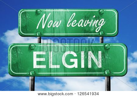 Now leaving elgin road sign with blue sky
