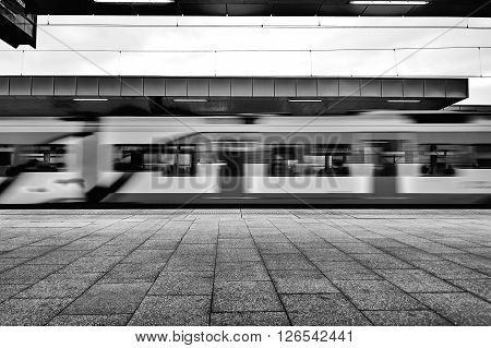 Warsaw, Poland - April 09, 2016:  Warszawa Stadion is a railway station, located in the district of Praga Poludnie close to the National Stadium.