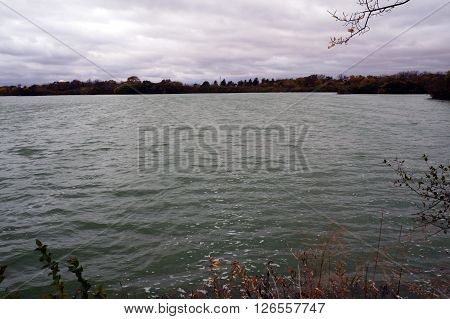 A view of Lake Renwick in the Lake Renwick Heron Rookery Nature Preserve in Plainfield, Illinois,