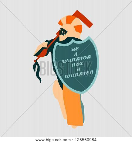 Vector illustration of ice hockey goalie with knight shield. Be a warrior not a worrier motto. Sport metaphor. Sport relative quote