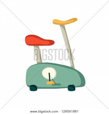 Vector cartoon exercise bike. Indoor gym illustration for fitness club. Body care equipment. Isolated cartoon vector exercise bike on white. Healthy active lifestyle. Cardio workout for weightloss