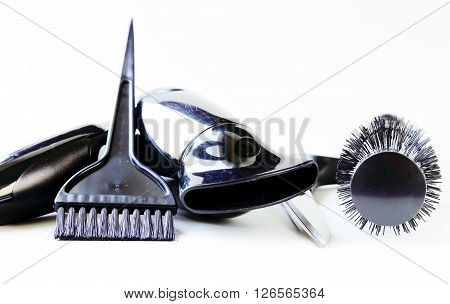 Tools for hairdresser (hair dryers, scissors, combs)