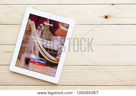 CHIANG MAI,THAILAND - DECEMBER 31,2015: Pinterest is a pinboard-style photo-sharing website that allows users to create and manage theme-based image collections like events interests and hobbies