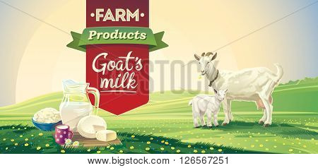 Country landscape with goat and kid and set dairy product. Vector illustration.