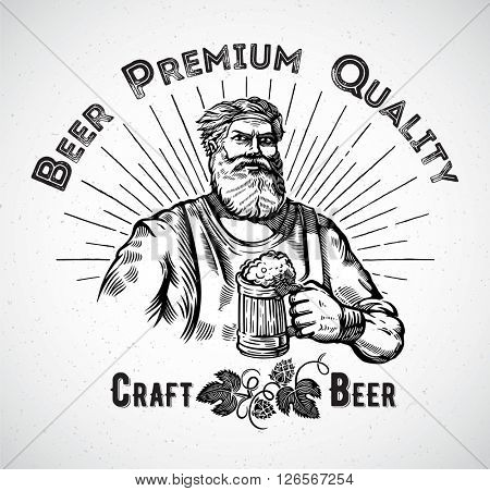 Happy Brewer. Characters brewer or craftsman's holding a mug full of beer. Graphical element in style engraving.