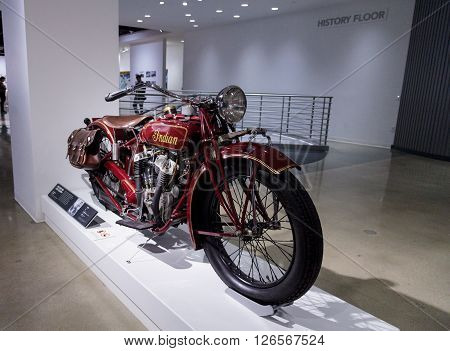 Los Angeles, CA, USA -- April 16, 2016: 1927 Indian Big Chief Motorcycle formerly owned by Steve McQueen, now part of the Margie and Robert E. Petersen Collection. ** Note: Visible grain at 100%, best at smaller sizes