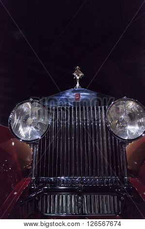 Los Angeles, CA, USA -- April 16, 2016: This 1930 Rolls Royce Phantom 1 Windblown Coupe by Brewster & Co. is part of the collection of the Atwell Family on display at the Petersen Automotive Museum in Los Angeles, California, United States.