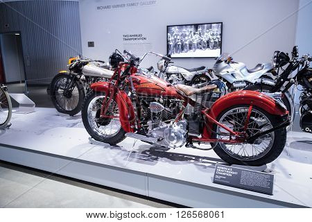 Los Angeles, CA, USA -- April 16, 2016: 1936 Crocker V-Twin motorcycle from the collection of Charles Nearburg at the Petersen Automotive Museum in Los Angeles, California, United States.