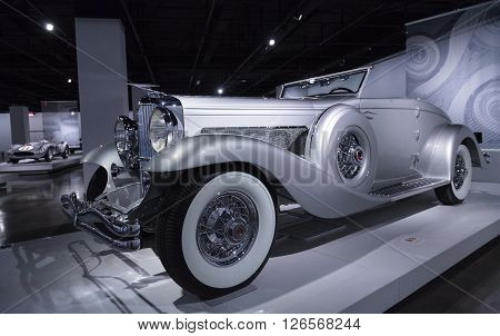 Los Angeles, CA, USA -- April 16, 2016: A 1936 Duesenberg Model SJN Convertible Coupe by Rollston. Part of the Nethercutt Collection, Helen and Jack Nethercutt at the Petersen Automotive Museum in Los Angeles, California, United States.
