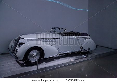 Los Angeles, CA, USA -- April 16, 2016: 1936 Lancia Astura Cabriolet by Pinin Farina from the collection of Orin Smith displayed at the Petersen Automotive Museum in Los Angeles, California, United States.
