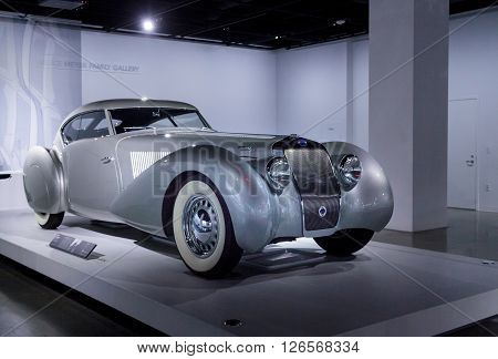 Los Angeles, CA, USA -- April 16, 2016: 1937 Delage D8 120 S by Pourtout from the collection of Sam and Emily Mann at the Petersen Automotive Museum in Los Angeles, California, United States.