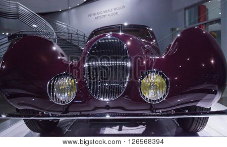 Los Angeles, CA, USA -- April 16, 2016: This 1937 talbot lago type 150 CS is part of the collection of the Mullin Automotive Museum that is temporarily being displayed at the Petersen Automotive Museum in Los Angeles, California, United States.