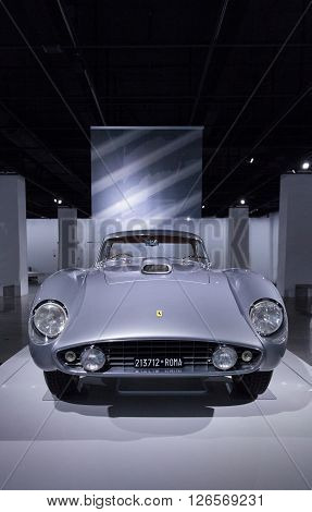 Los Angeles, CA, USA -- April 16, 2016: This 1954 Ferrari 375 MM by Scaglietti from the collection of Jon Shirley at the Petersen Automotive Museum in Los Angeles, California, United States was once owned by film director Roberto Rossellini and his wife,