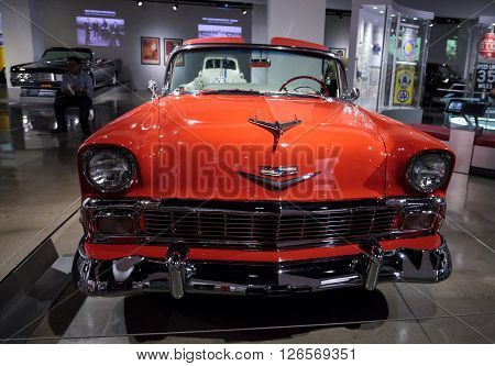 Los Angeles, CA, USA -- April 16, 2016: This 1956 Chevrolet Bel Air Convertible was a gift to the Petersen Automotive Museum in Los Angeles, California, from Chris and Don Meyers.