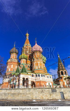 MOSCOW, RUSSIA - FEBRUARY 26, 2016:  Cathedral of Vasily the Blessed, known as Saint Basil's Cathedral or Pokrovsky Cathedral