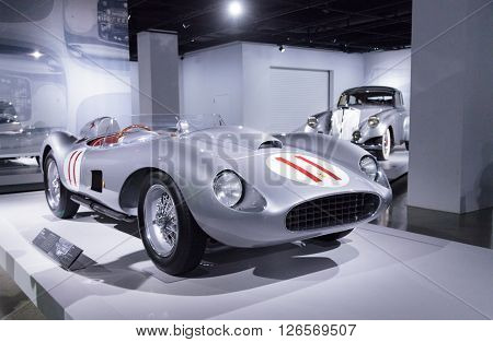Los Angeles, CA, USA -- April 16, 2016: Silver and Red 1957 Ferrari 625/250 Testa Rossa by Scaglietti from the Collection of Bruce Meyer at the Petersen Automotive Museum in Los Angeles, California, United States. ** Note: Visible grain at 100%, best at