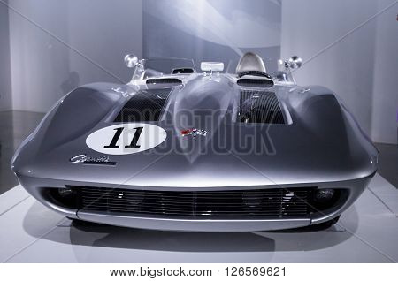 Los Angeles, CA, USA -- April 16, 2016: A 1959 Chevrolet Corvette XP 87 Stingray Racer from the General Motors Heritage Collection at the Petersen Automotive Museum in Los Angeles, California, United States.