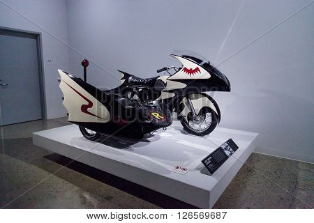 Los Angeles, CA, USA -- April 16, 2016: This 1966 Yamaha YDS-3 Batcycle was ridden in the Batman television series and is now part of the Margie and Robert E. Petersen Collection at the Petersen Automotive Museum in Los Angeles, California, United States.