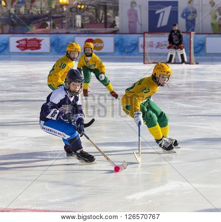 MOSCOW, RUSSIA - FEBRUARY 27, 2016: the final bandy tournament on Red Square