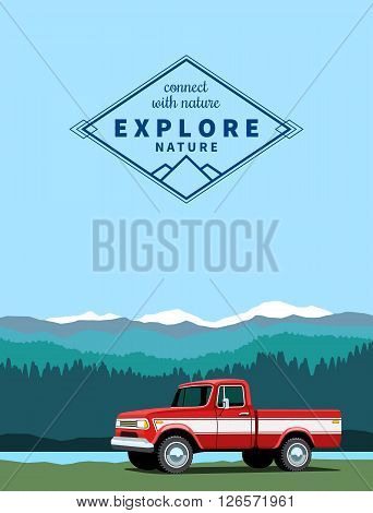 Red pickup custom offroad truck with shadow at mountaing landscape background. Vector illustration