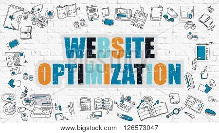 Website Optimization Concept. Website Optimization Drawn on White Wall. Website Optimization in Multicolor. Doodle Design. Modern Style Illustration. Line Style Illustration. White Brick Wall.