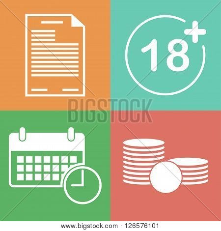 Lending terms flat icons. Loan conditions flat style icons. Terms of payment flat vector icon. The necessary conditions for obtaining a loan icons. ID or agreement age time and money flat icons.