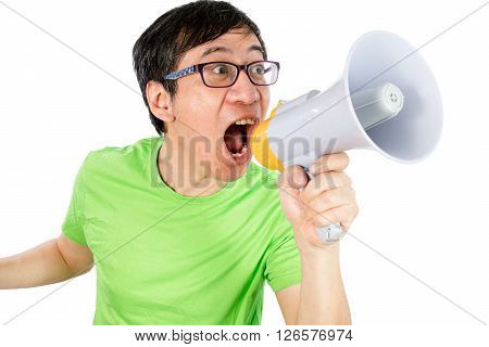 Asian Chinese Man Shouting With A Megaphone