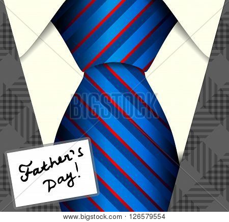 Happy Fathers Day, holiday card with a blue silk tie.