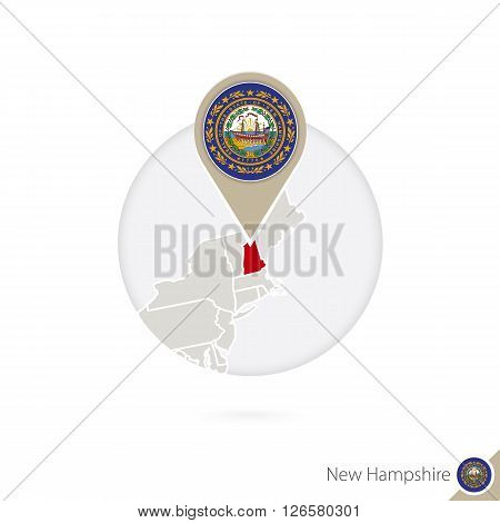 New Hampshire Us State Map And Flag In Circle. Map Of New Hampshire, New Hampshire Flag Pin. Map Of